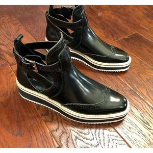Zara Black Vegan Oxford Platform Ankle Boots